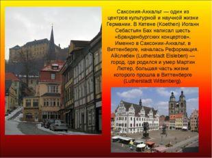 Саксония-Анхальт — один из центров культурной и научной жизни Германии. В Кет