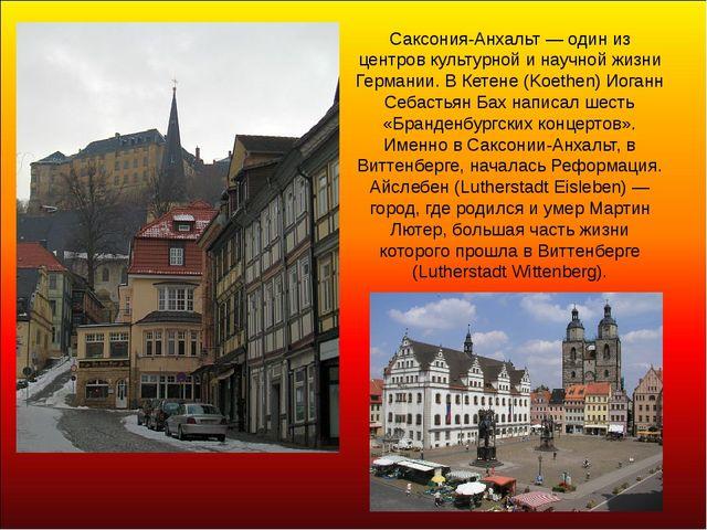 Саксония-Анхальт — один из центров культурной и научной жизни Германии. В Кет...