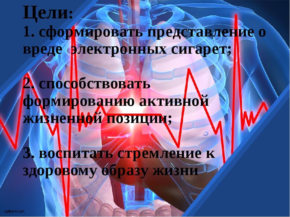 Цели: 1. сформировать представление о вреде электронных сигарет; 2. способств...