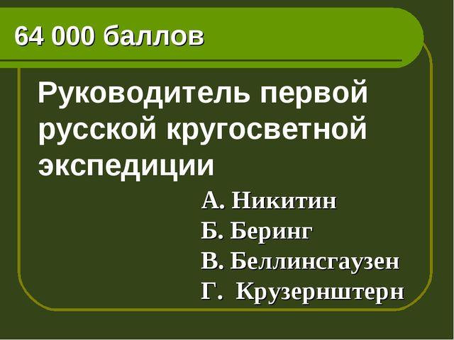 64 000 баллов Руководитель первой русской кругосветной экспедиции А. Никитин...