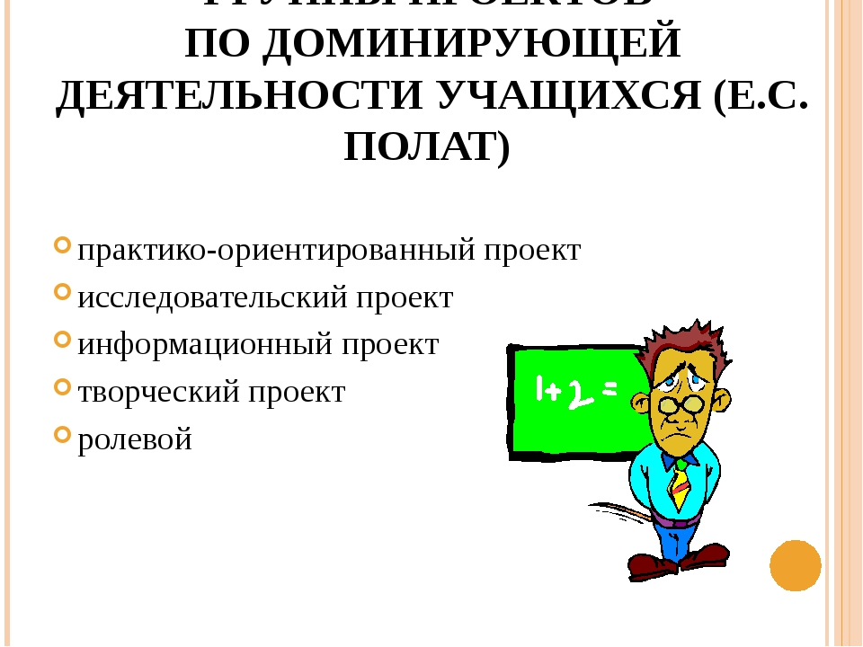 ГРУППЫ ПРОЕКТОВ ПО ДОМИНИРУЮЩЕЙ ДЕЯТЕЛЬНОСТИ УЧАЩИХСЯ (Е.С. ПОЛАТ) практико-о...