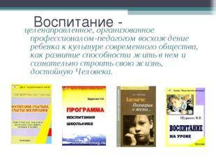 Воспитание - целенаправленное, организованное профессионалом-педагогом восхож
