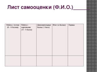 Лист самооценки (Ф.И.О.)______ Работа с тестом (0 – 6 баллов) Работа с карточ