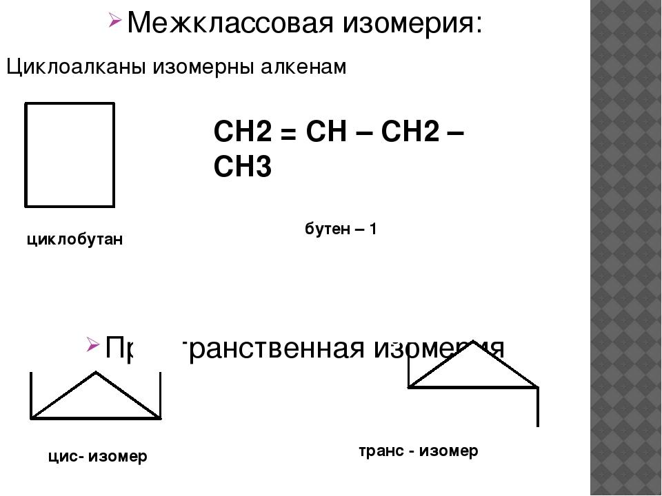 Межклассовая изомерия: Циклоалканы изомерны алкенам Пространственная изомерия...