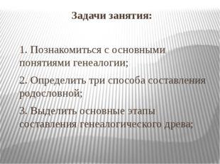 Задачи занятия: 1. Познакомиться с основными понятиями генеалогии; 2. Определ