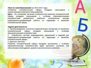 Тема по самообразованию на 2013-2017 годы. «Развитие познавательной сферы мла