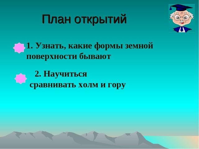 План открытий 1. Узнать, какие формы земной поверхности бывают 2. Научиться с...