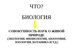 БИОЛОГИЯ СОВОКУПНОСТЬ НАУК О ЖИВОЙ ПРИРОДЕ (ЭКОЛОГИЯ, ФИЗИОЛОГИЯ, АНАТОМИЯ, З