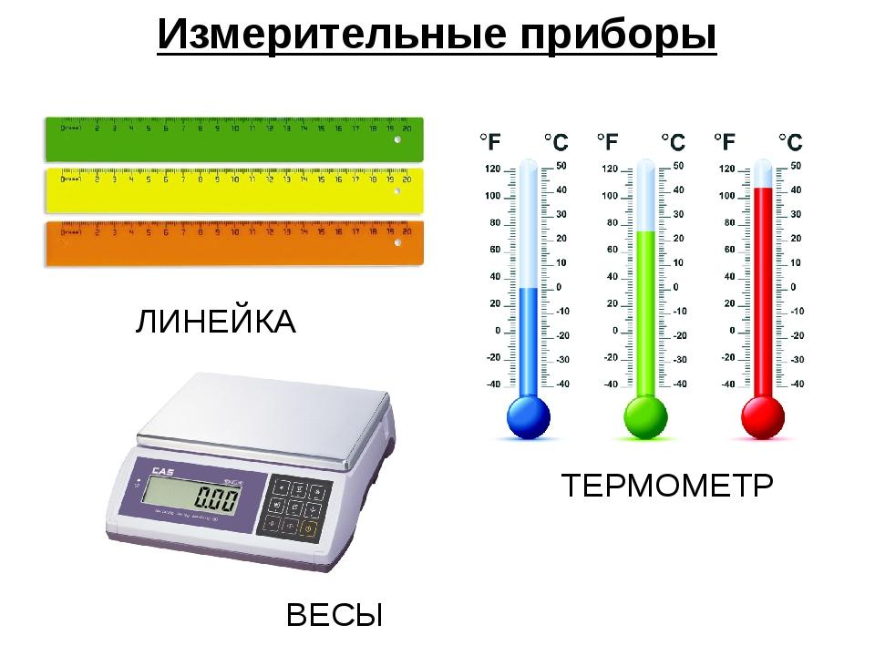 Измерительные приборы ЛИНЕЙКА ТЕРМОМЕТР ВЕСЫ