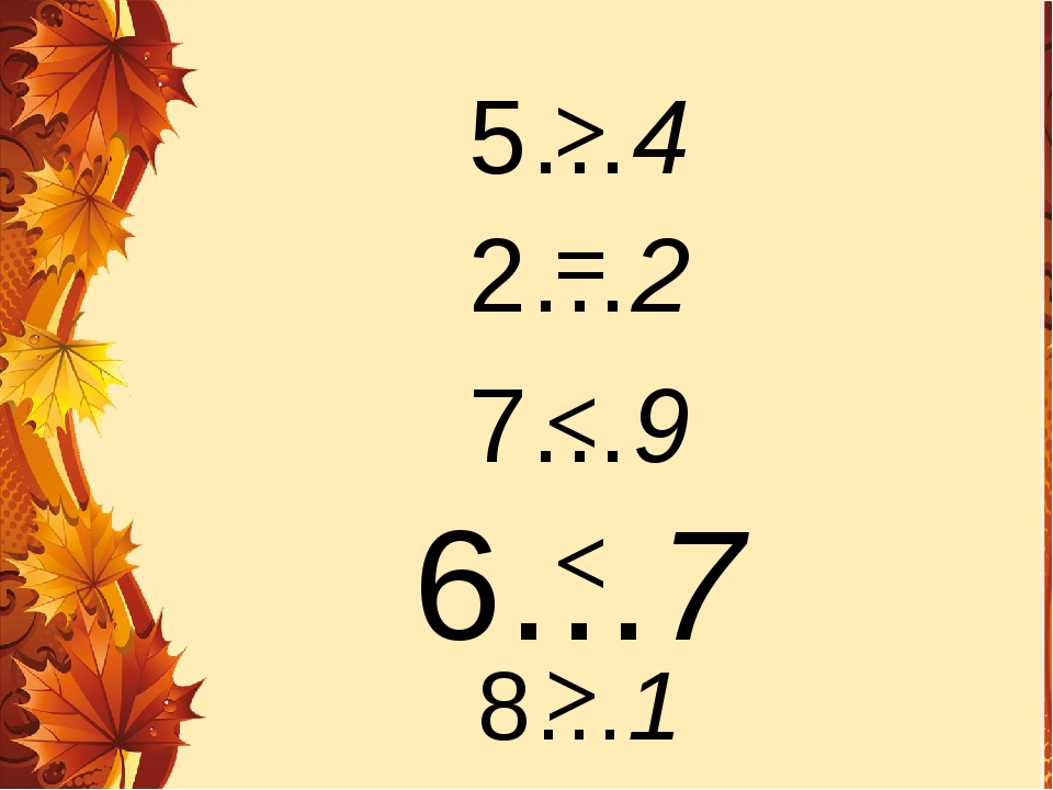 5…4 2…2 7…9 6…7 8…1 > > = < <