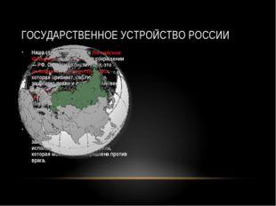 Наша страна называется Российская Федерация или Россия, в сокращении — РФ. Со