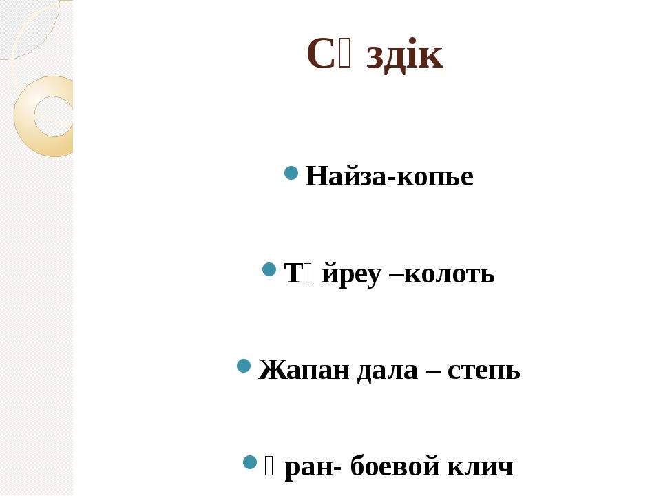 Сөздік Найза-копье Түйреу –колоть Жапан дала – степь Ұран- боевой клич