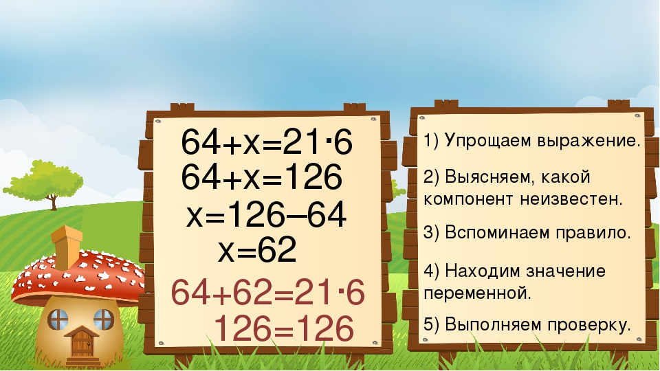 1) Упрощаем выражение. 2) Выясняем, какой компонент неизвестен. 3) Вспоминаем...