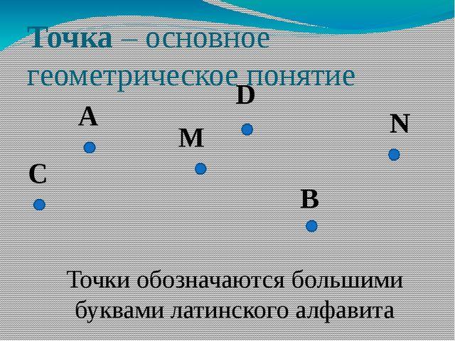 Точка – основное геометрическое понятие A Точки обозначаются большими буквами...
