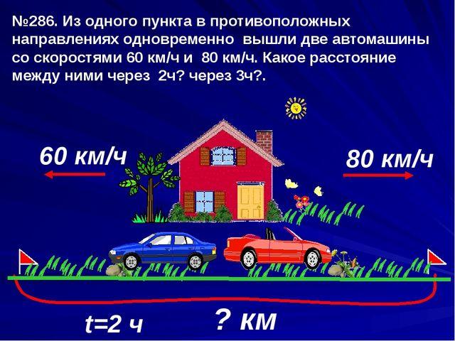 60 км/ч t=2 ч 80 км/ч №286. Из одного пункта в противоположных направлениях о...