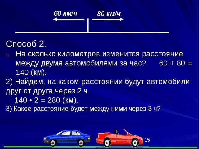 60 км/ч 80 км/ч Способ 2. На сколько километров изменится расстояние между д...