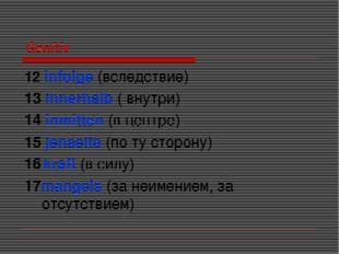 Genitiv 12 infolge (вследствие) 13 innerhalb ( внутри) 14 inmitten (в центре)