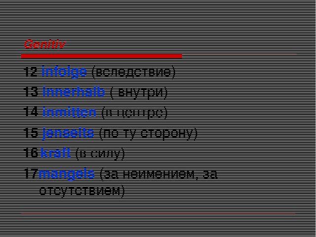 Genitiv 12 infolge (вследствие) 13 innerhalb ( внутри) 14 inmitten (в центре)...