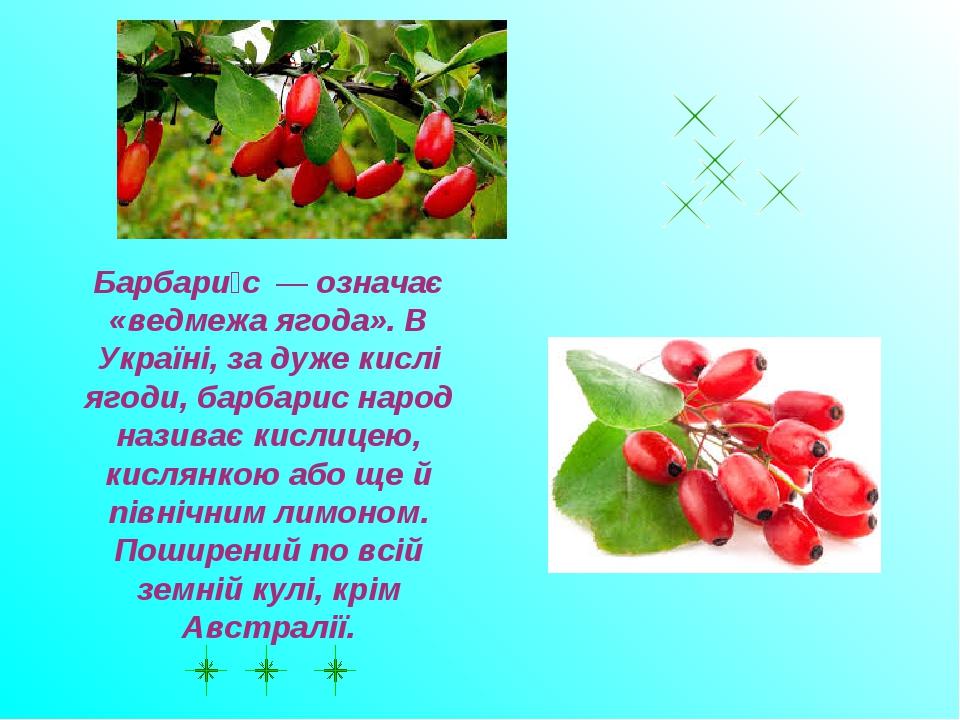 Барбари́с—означає «ведмежа ягода». В Україні, за дуже кислі ягоди, барбар...