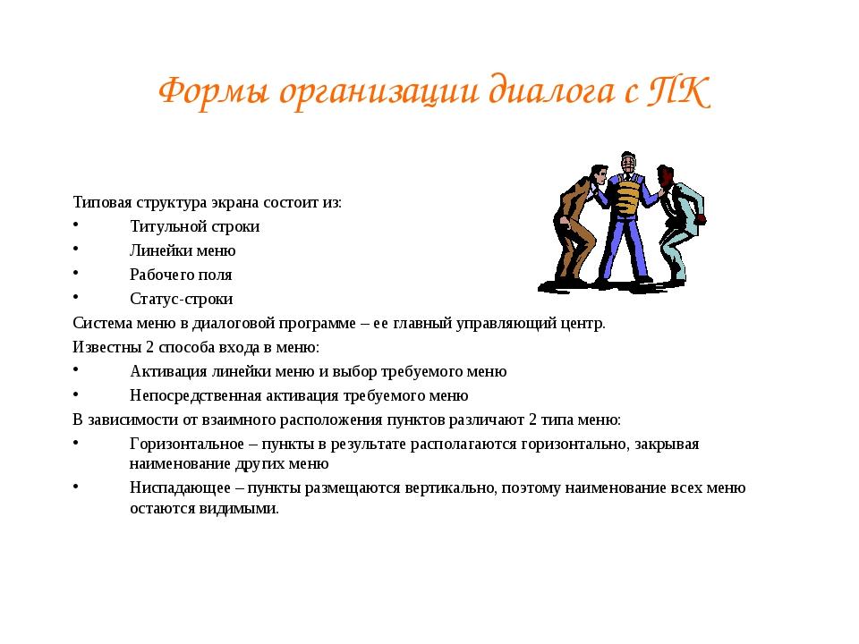 Формы организации диалога с ПК Типовая структура экрана состоит из: Титульной...