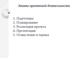 Этапы проектной деятельности 1. Подготовка 2. Планирование 3. Реализация прое