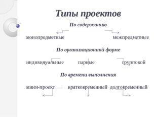 Типы проектов По содержанию монопредметные межпредметные По организационной ф