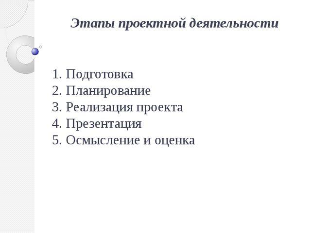 Этапы проектной деятельности 1. Подготовка 2. Планирование 3. Реализация прое...