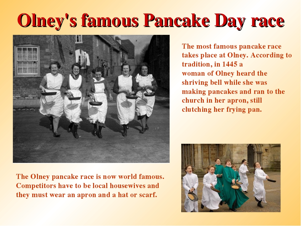Olney's famous Pancake Day race The most famous pancake race takes place at O...