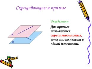 Скрещивающиеся прямые Определение: Две прямые называются скрещивающимися, есл