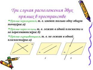 Три случая расположения двух прямых в пространстве Прямые пересекаются, т. е.