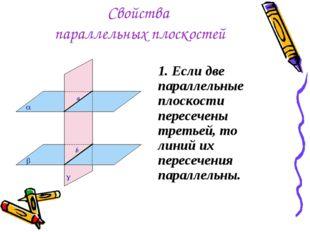 Свойства параллельных плоскостей 1. Если две параллельные плоскости пересечен