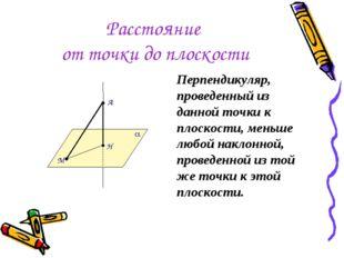 Расстояние от точки до плоскости Перпендикуляр, проведенный из данной точки к