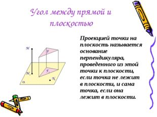 Угол между прямой и плоскостью Проекцией точки на плоскость называется основа