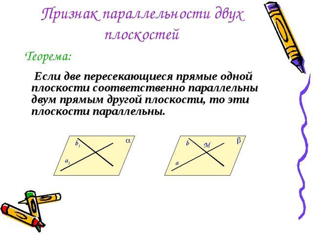 Признак параллельности двух плоскостей Если две пересекающиеся прямые одной п...