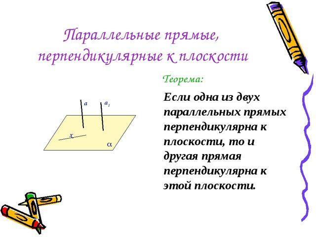 Параллельные прямые, перпендикулярные к плоскости Теорема: Если одна из двух...