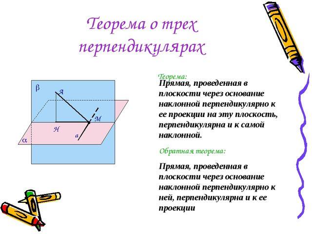 Теорема о трех перпендикулярах Теорема: Прямая, проведенная в плоскости через...