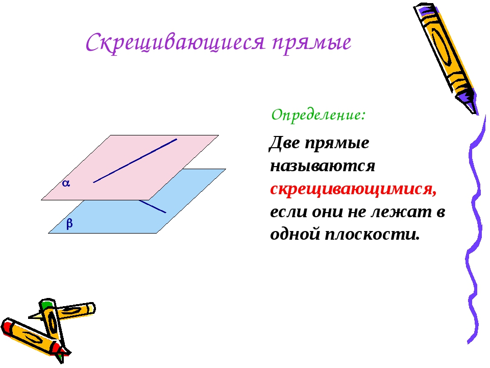 Скрещивающиеся прямые Определение: Две прямые называются скрещивающимися, есл...