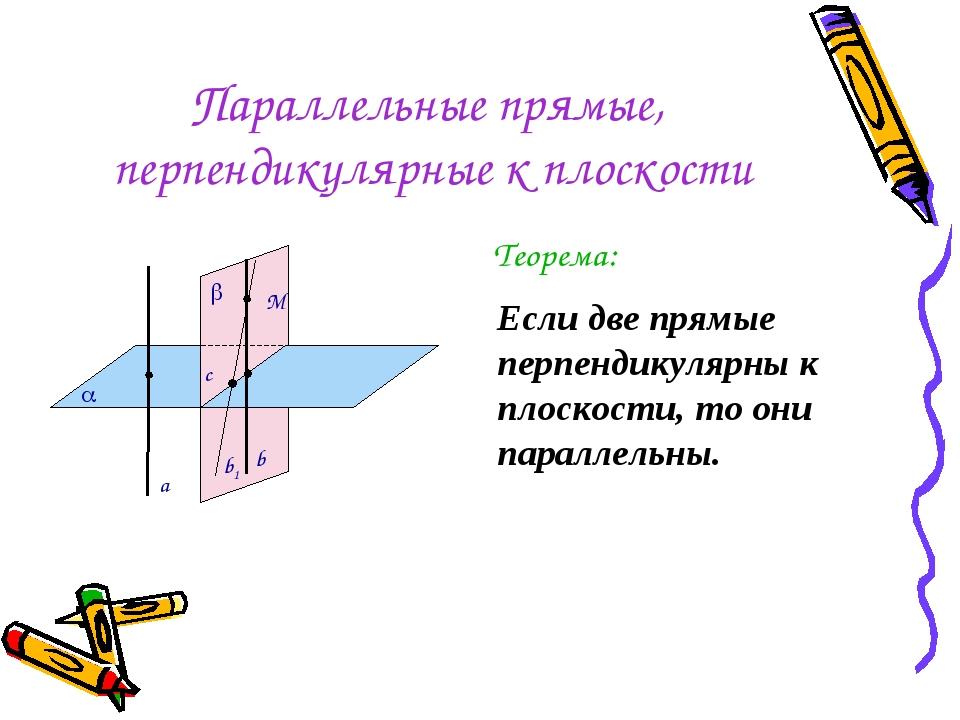 Параллельные прямые, перпендикулярные к плоскости Теорема: Если две прямые пе...
