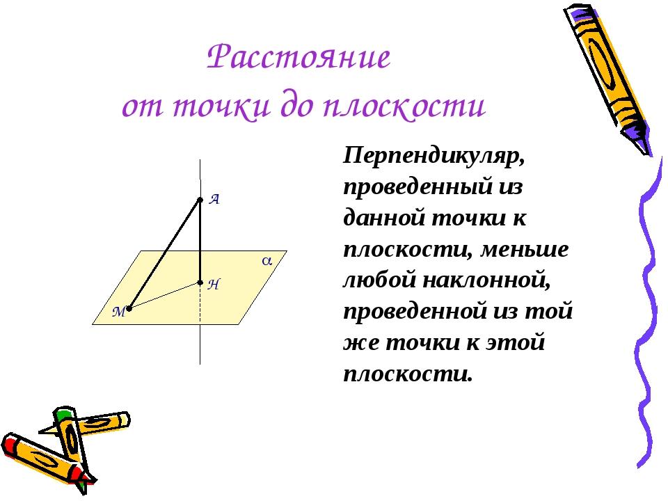 Расстояние от точки до плоскости Перпендикуляр, проведенный из данной точки к...
