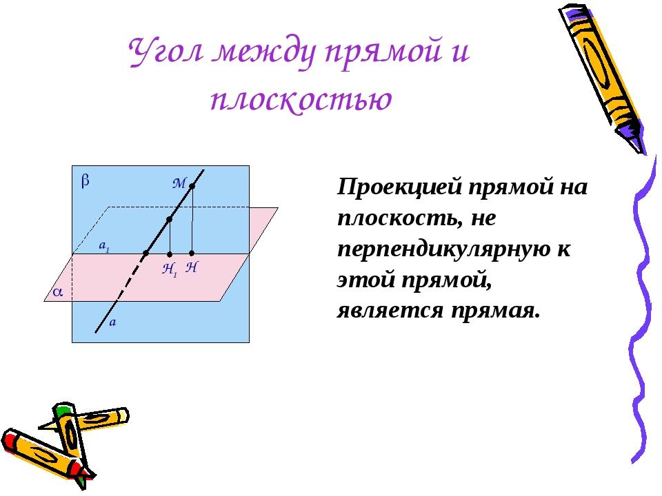 Угол между прямой и плоскостью Проекцией прямой на плоскость, не перпендикуля...