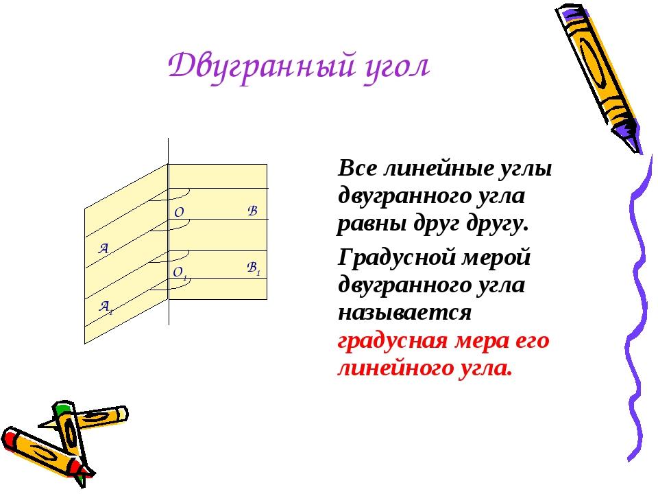 Двугранный угол Все линейные углы двугранного угла равны друг другу. Градусно...