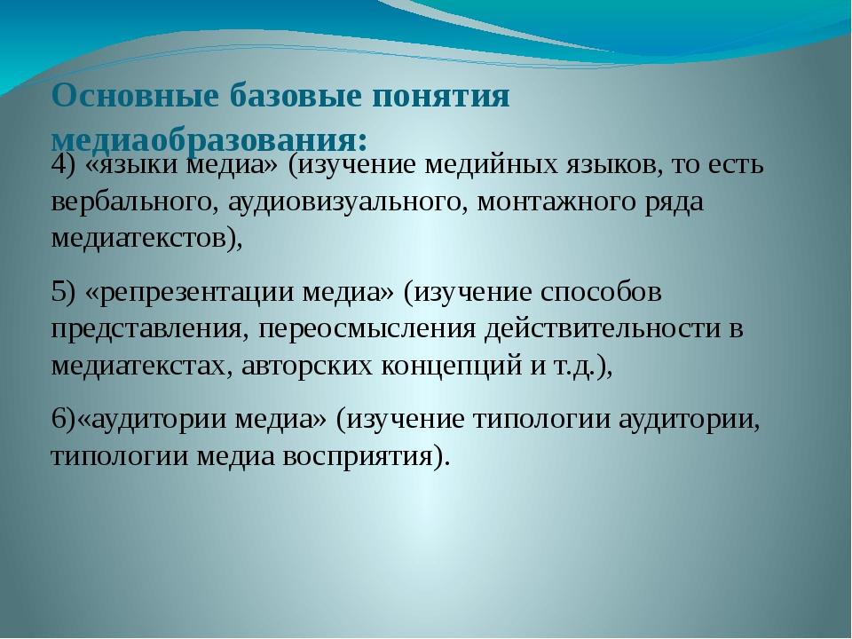 Основные базовые понятия медиаобразования: 4) «языки медиа» (изучение медийны...