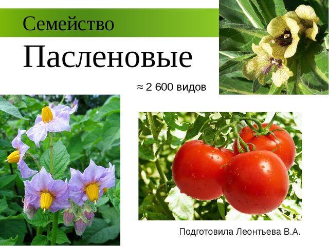 Семейство Пасленовые Подготовила Леонтьева В.А. ≈ 2 600 видов