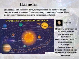 Планеты Планеты - этонебесное тело, вращающееся по орбите вокруг звезды или