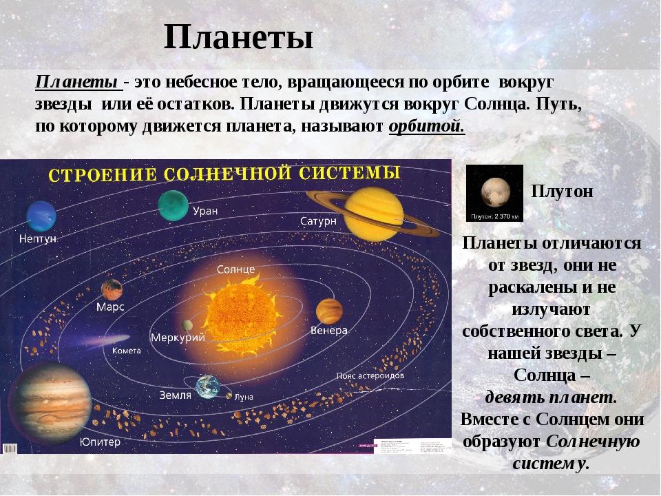 Планеты Планеты - этонебесное тело, вращающееся по орбите вокруг звезды или...