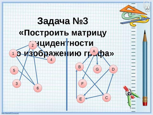 Задача №3 «Построить матрицу инцидентности по изображению графа» 1 5 6 4 3 А...