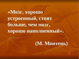 «Мозг, хорошо устроенный, стоит больше, чем мозг, хорошо наполненный». (М. Мо