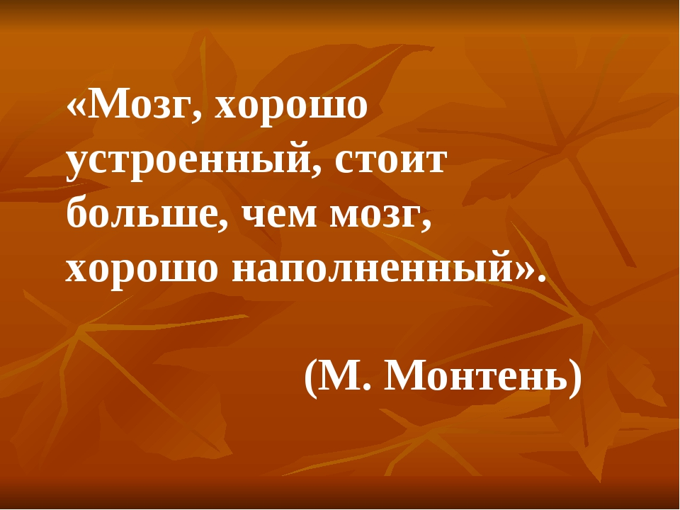 «Мозг, хорошо устроенный, стоит больше, чем мозг, хорошо наполненный». (М. Мо...