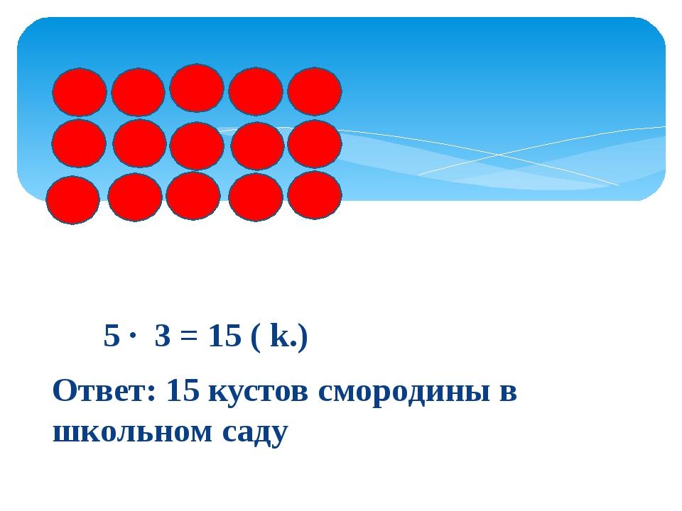 55555 5 · 3 = 15 ( k.) Ответ: 15 кустов смородины в школьном саду