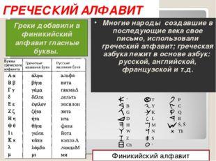 ГРЕЧЕСКИЙ АЛФАВИТ Греки добавили в финикийский алфавит гласные буквы. Многие